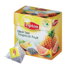 """Чай LIPTON (Липтон) """"Tropical Fruit"""", черный с ананасом и цедрой грейпфрута, 20 пирамидок по 2 г"""