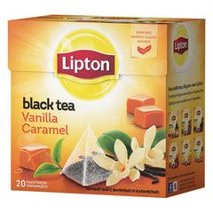 """Чай LIPTON (Липтон) """"Vanilla Caramel"""", черный с ванилью и карамелью, 20 пирамидок по 2 г"""