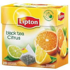 """Чай LIPTON (Липтон) """"Citrus"""", черный с цедрой цитрусовый, 20 пирамидок по 2 г"""
