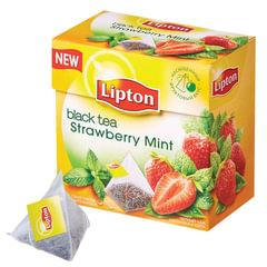 """Чай LIPTON (Липтон) """"Strawberry Mint"""", черный с клубникой и мятой, 20 пирамидок по 2 г"""