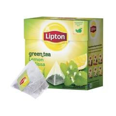 "Чай LIPTON (Липтон) ""Green Lemon Melissa"", зеленый, 20 пирамидок по 2 г"