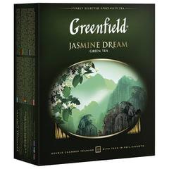 """Чай GREENFIELD (Гринфилд) """"Jasmine Dream"""" (""""Жасминовый сон""""), зеленый с жасмином, 100 пакетиков в конвертах по 2 г"""