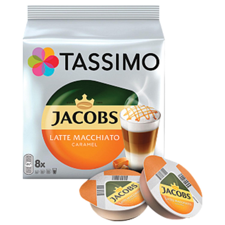 "Кофе в капсулах JACOBS ""Latte Macchiato Caramel"" для кофемашин Tassimo, 8 шт. х 7 г + капсулы с молоком 8 шт. х 26,5 г"