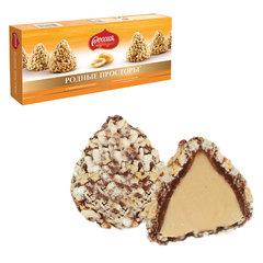 Конфеты шоколадные РОДНЫЕ ПРОСТОРЫ, с вафельной крошкой, картонная коробка, 125 г