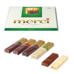 Конфеты шоколадные MERCI (Мерси), ассорти из шоколада с миндалем, 250 г, картонная коробка