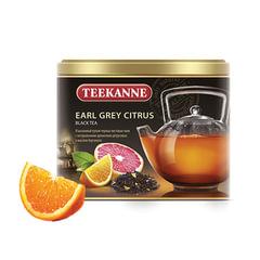 "Чай TEEKANNE (Тиканне) ""Earl Grey Citrus"", черный, бергамот/цитрус, листовой, 150 г, ж/б, Германия"