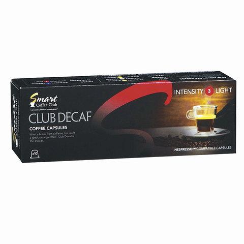 """Капсулы для кофемашин NESPRESSO """"Decaf"""", натуральный кофе, 10 шт. х 5 г, SMART COFFEE CLUB"""