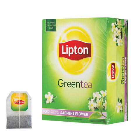 """Чай LIPTON (Липтон) """"Jasmine Flowers"""", зеленый с цветами жасмина, 100 пакетиков по 1,4 г"""