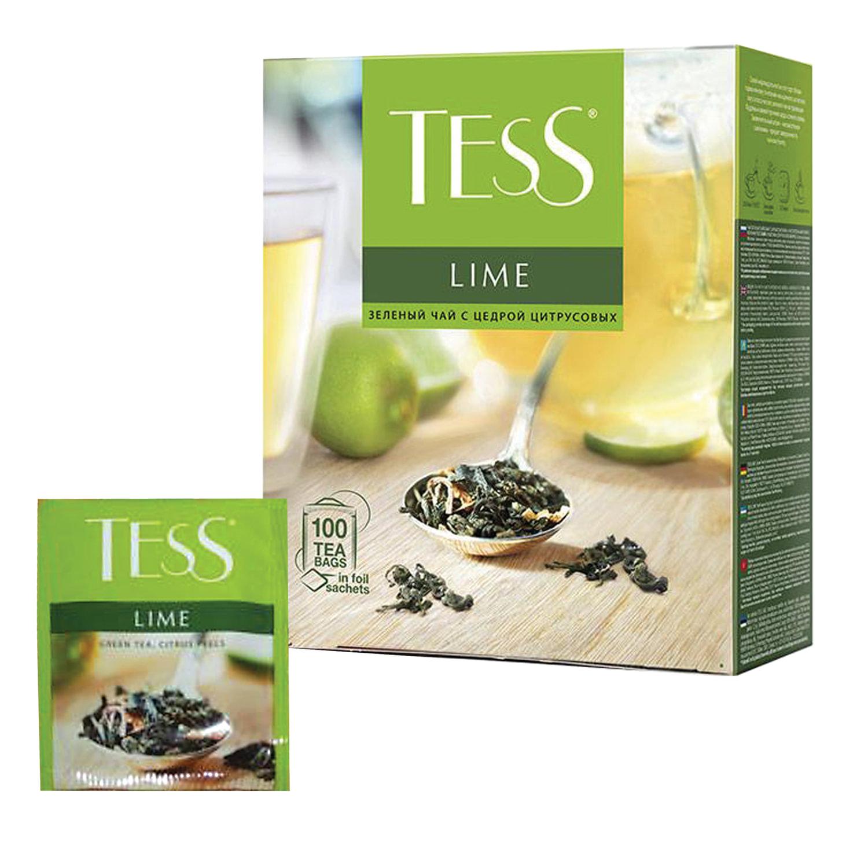 """Чай TESS (Тесс) """"Lime"""", зеленый с цедрой цитрусовых, 100 пакетиков по 1,5 г"""