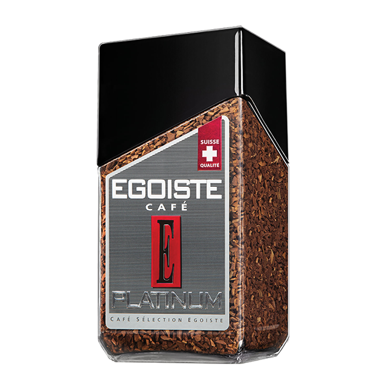 """Кофе растворимый EGOISTE """"Platinum"""", сублимированный, 100 г, 100% арабика, стеклянная банка"""