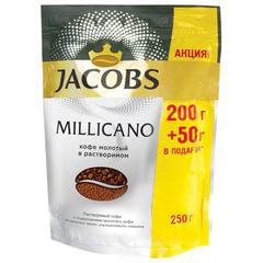 """Кофе молотый в растворимом JACOBS """"Millicano"""", сублимированный, 250 г, мягкая упаковка"""