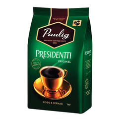 "Кофе в зернах PAULIG (Паулиг) ""Presidentti Original"", натуральный, 1000 г, вакуумная упаковка"