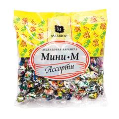 """Конфеты-карамель """"Мини-м """"Ассорти"""", леденцовая, мини, 180 г, пакет"""
