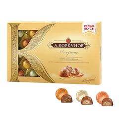 Конфеты шоколадные А.КОРКУНОВ, ассорти из молочного шоколада, 256 г, картонная коробка
