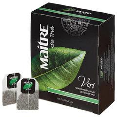 """Чай MAITRE (МЭТР) """"Классический"""", зеленый, 100 пакетиков в конвертах по 2 г"""