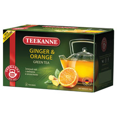 "Чай TEEKANNE (Тиканне) ""Ginger&Orange"", зеленый, имбирь/апельсин, 20 пакетиков, Германия"