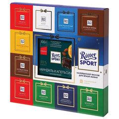 Шоколад порционный RITTER SPORT, подарочный набор, 8 вкусов, 1 плитка 100 г + 10 мини-плиток, 267 г