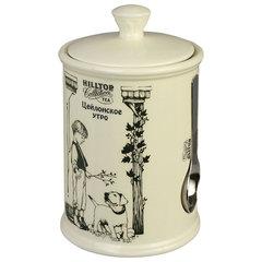 """Чай HILLTOP """"Цейлонское утро"""", черный листовой, 125 г, керамическая чайница с мерной ложкой"""