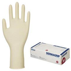 Перчатки латексные смотровые, КОМПЛЕКТ 25 пар (50 шт.), неопудренные, прочные, M, DERMAGRIP Extra