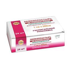 Лейкопластырь рулонный LEIKO комплект 24 шт., 1х500 см, тканевая основа, белый, госпитальная упаковка