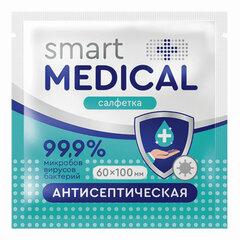 Антисептическая салфетка в индивидуальной упаковке SMART MEDICAL, 60х100 мм