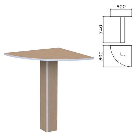 "Стол приставной угловой ""Бюджет"", 600х600х740 мм, орех онтарио"