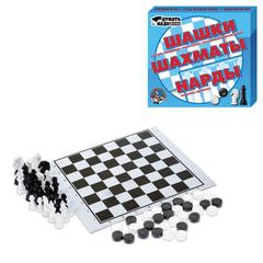 """Игра 3 в 1 """"Шашки, нарды и шахматы"""", 21х19 см, """"Десятое королевство"""""""