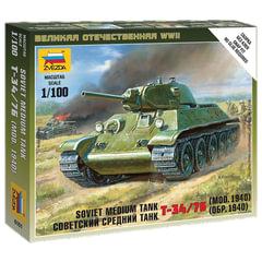 """Модель для сборки ТАНК """"Средний советский Т-34/76 образца 1940"""", масштаб 1:100, ЗВЕЗДА, 6101"""