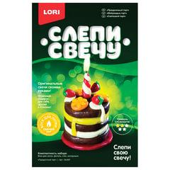 """Набор для изготовления свечи """"Праздничный торт"""", воск для лепки, фитиль, стек, LORI"""