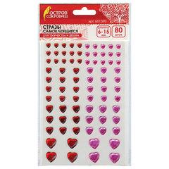 """Стразы самоклеящиеся """"Сердце"""", 6-15 мм, 80 шт., розовые/красные, на подложке, ОСТРОВ СОКРОВИЩ"""