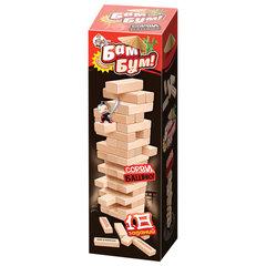 """Игра настольная Башня """"Бам-бум"""", неокрашенные деревянные блоки с заданиями, 10 КОРОЛЕВСТВО, 1741"""