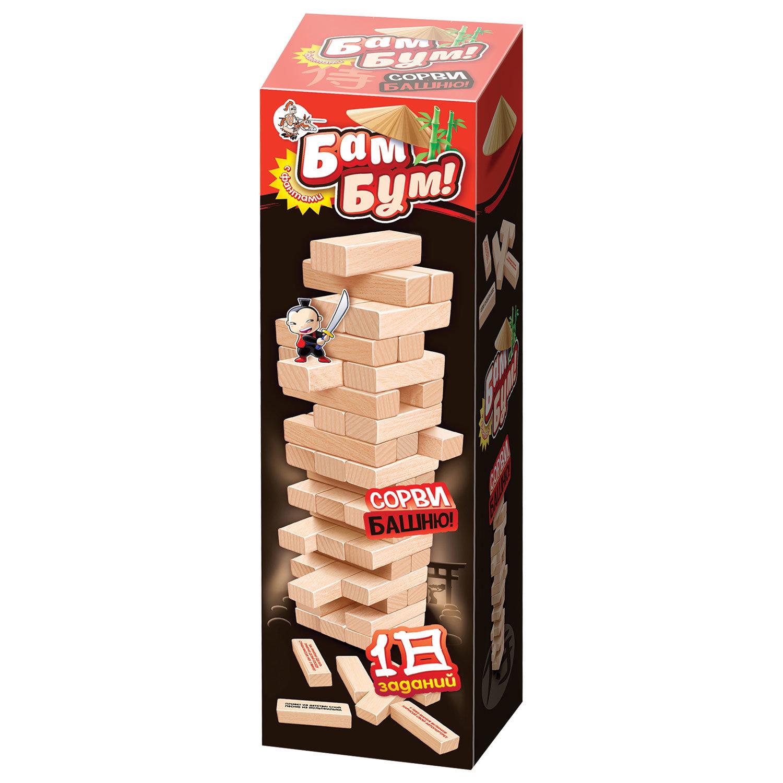 """Игра настольная Башня """"Бам-бум"""", неокрашенные деревянные блоки с заданиями, 10 КОРОЛЕВСТВО"""