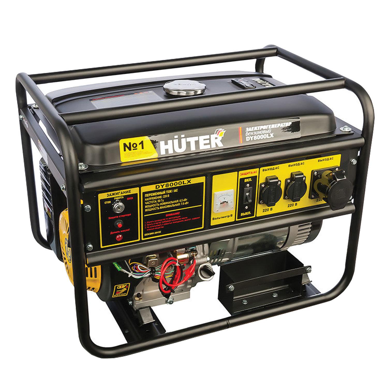 Электрогенератор Huter DY8000LX, бензиновый, 7,0 кВ, 220 В, ручной стартер/электростартер