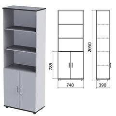 """Шкаф полузакрытый """"Монолит"""", 740х390х2050 мм, цвет серый (КОМПЛЕКТ)"""