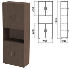 "Шкаф полузакрытый ""Канц"", 700х350х1830 мм, цвет венге (КОМПЛЕКТ)"