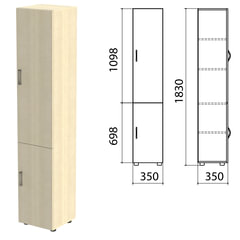 "Шкаф закрытый ""Канц"", 350х350х1830 мм, цвет дуб молочный (КОМПЛЕКТ)"
