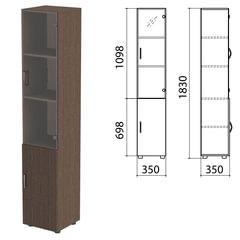 "Шкаф закрытый со стеклом ""Канц"", 350х350х1830 мм, цвет венге (КОМПЛЕКТ)"