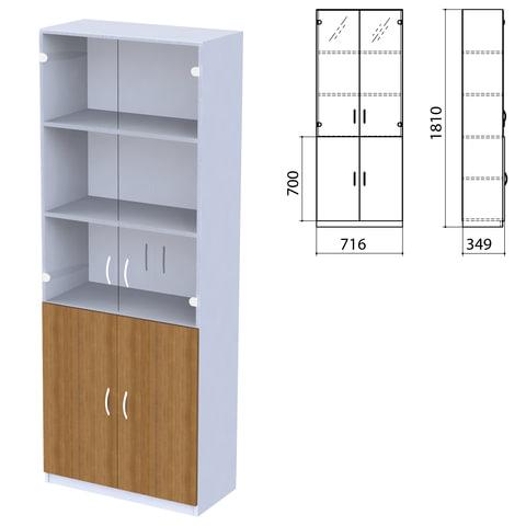 "Шкаф закрытый со стеклом ""Бюджет"", 716х349х1810 мм, орех французский (КОМПЛЕКТ)"